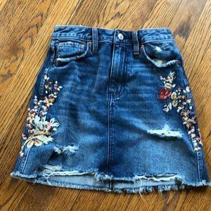 Denim embroidered destroyed distressed Fray skirt
